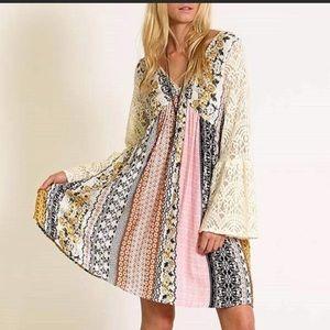 Kori America Boho Lace Patchwork Empire Dress S